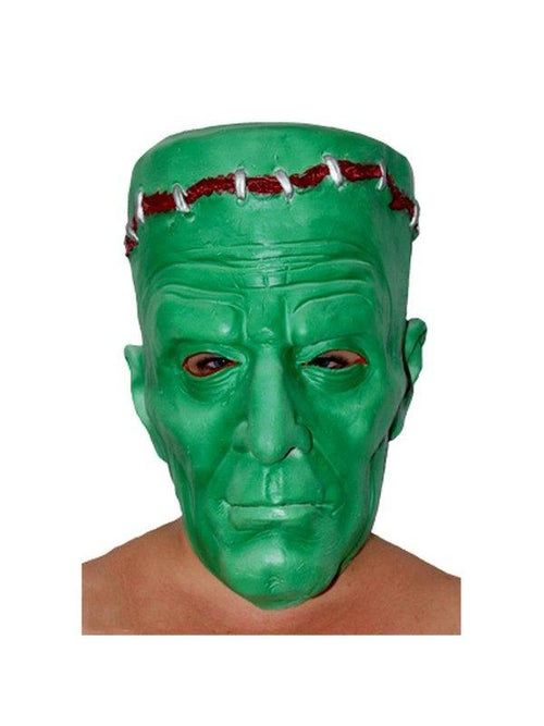 **Rubber Frankenstein Mask- Green w/Bl-Masks - Halloween-Jokers Costume Hire and Sales Mega Store
