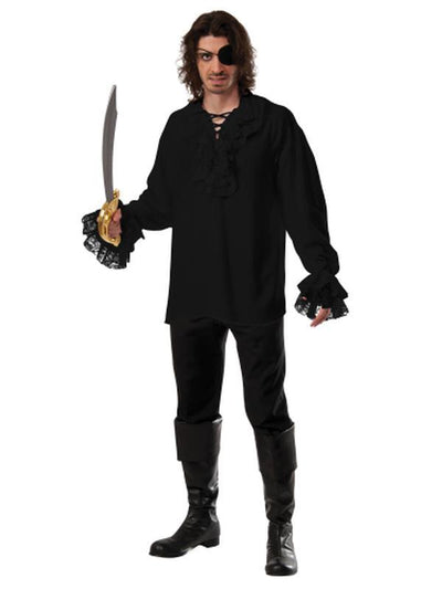 Ruffled Pirate Shirt Black - Size Xl-Costumes - Mens-Jokers Costume Hire and Sales Mega Store