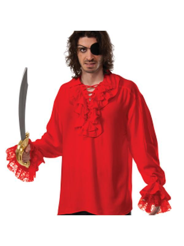 Ruffled Pirate Shirt Red - Size Std-Costumes - Mens-Jokers Costume Hire and Sales Mega Store