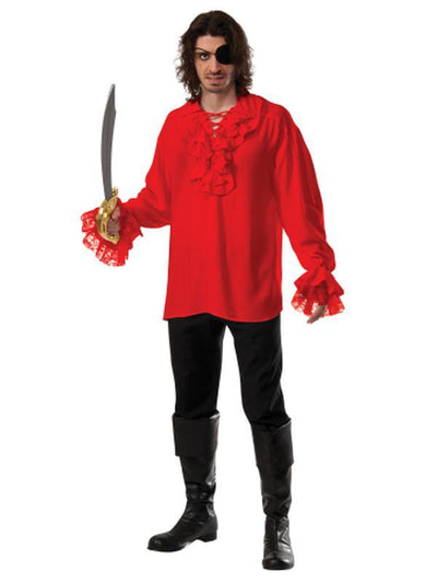 Ruffled Pirate Shirt Red - Size Xl-Costumes - Mens-Jokers Costume Hire and Sales Mega Store