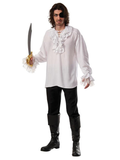 Ruffled Pirate Shirt White- Size Std-Costumes - Mens-Jokers Costume Hire and Sales Mega Store