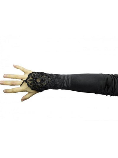 Satin Fingerless Lace Gloves - Black-Armwear-Jokers Costume Mega Store