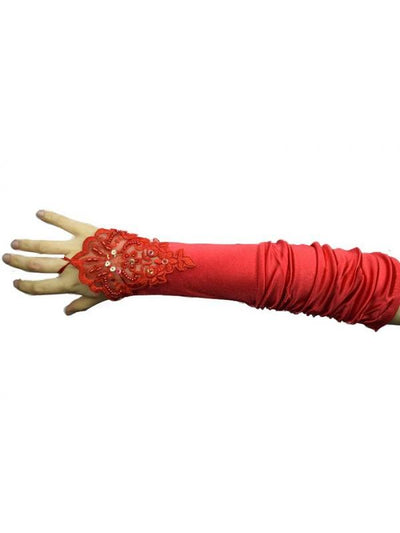 Satin Fingerless Lace Gloves - Red-Armwear-Jokers Costume Mega Store