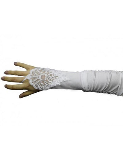Satin Fingerless Lace Gloves - White-Armwear-Jokers Costume Mega Store