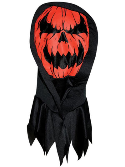 Screen Print Hooded Mask - Pumpkin-Masks - Halloween-Jokers Costume Hire and Sales Mega Store