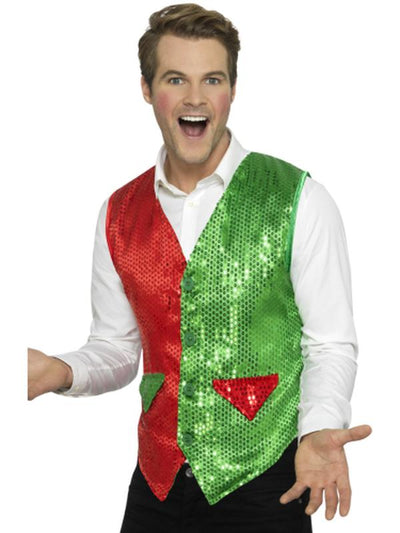 Sequin Elf Waistcoat-Costumes - Mens-Jokers Costume Hire and Sales Mega Store