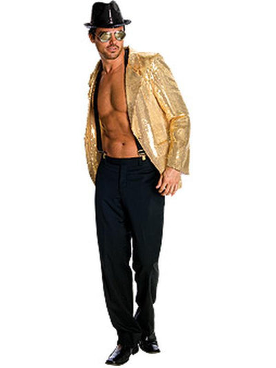 Sequin Jacket Mens Gold - Size S-Jokers Costume Mega Store