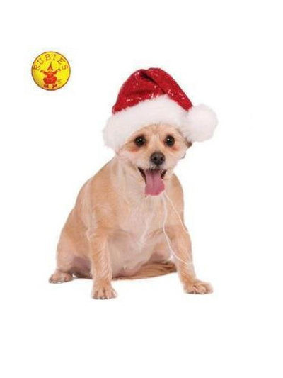 SEQUIN SANTA PET HAT, RED - SIZE M-L-Costumes - Pets-Jokers Costume Hire and Sales Mega Store
