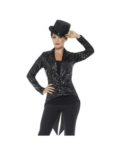 Sequin Tailcoat Jacket, Ladies, Black-Costumes - Women-Jokers Costume Mega Store