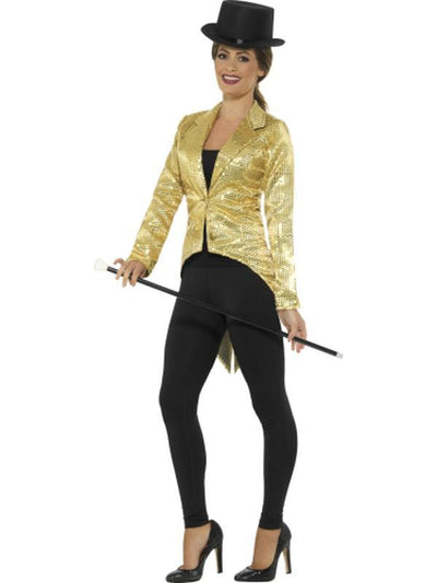 Sequin Tailcoat Jacket, Ladies - Gold-Costumes - Women-Jokers Costume Hire and Sales Mega Store
