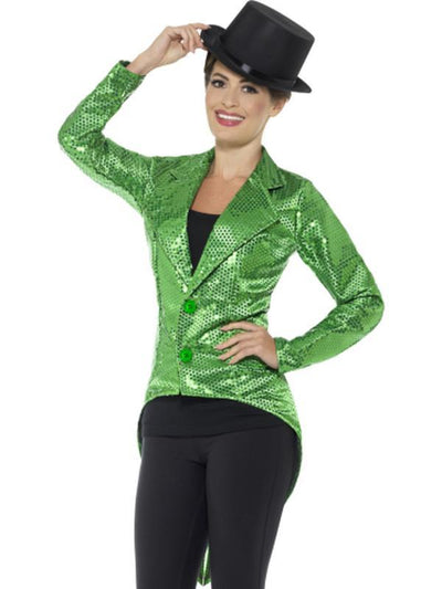 Sequin Tailcoat Jacket, Ladies - Green-Costumes - Women-Jokers Costume Hire and Sales Mega Store