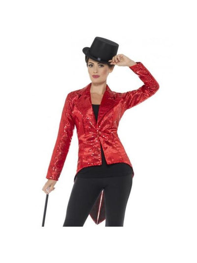 Sequin Tailcoat Jacket, Ladies, Red-Costumes - Women-Jokers Costume Hire and Sales Mega Store