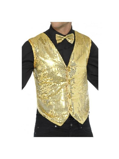Sequin Waistcoat, Gold-Costumes - Mens-Jokers Costume Hire and Sales Mega Store