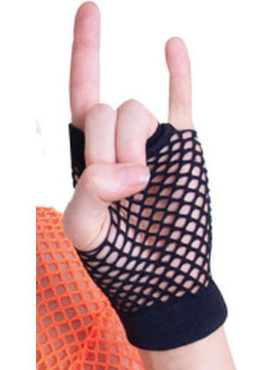 Short Fishnet Punk Gloves - Black-Armwear-Jokers Costume Hire and Sales Mega Store