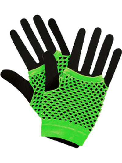 Short Fishnet Punk Gloves - Neon Green-Armwear-Jokers Costume Hire and Sales Mega Store