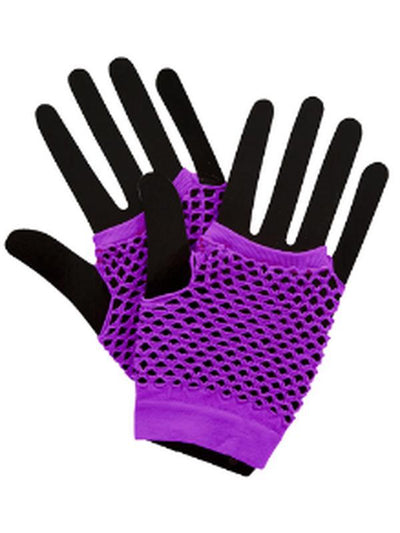 Short Fishnet Punk Gloves - Neon Purple-Armwear-Jokers Costume Hire and Sales Mega Store