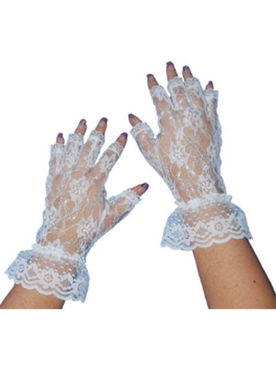 Short Lace Fingerless Gloves - White-Armwear-Jokers Costume Hire and Sales Mega Store