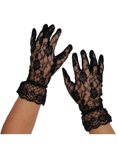 Short Lace Gloves - Black-Armwear-Jokers Costume Hire and Sales Mega Store