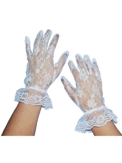 Short Lace Gloves - White-Armwear-Jokers Costume Hire and Sales Mega Store