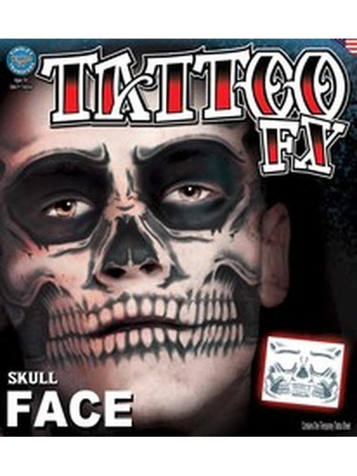 Skull Face Full Face Temporary Tattoo-Make up and Special FX-Jokers Costume Hire and Sales Mega Store