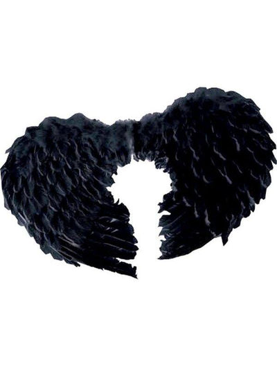 Small Feather Angel Wings - Black-Costume Accessories-Jokers Costume Hire and Sales Mega Store