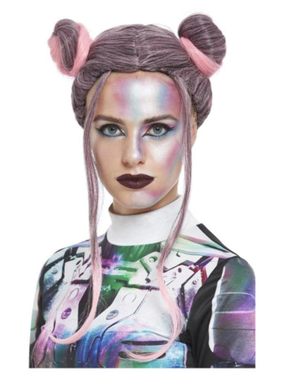Space Buns Wig, Black & Pink-Wigs-Jokers Costume Mega Store