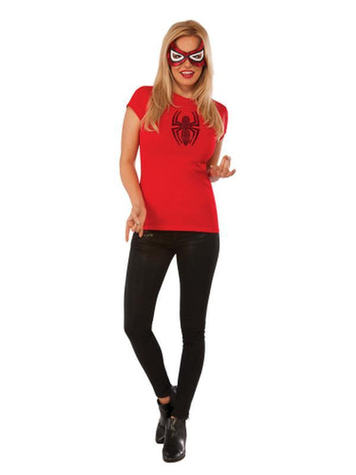 Spider-Girl Rhinestone Tshirt - Size S-Costumes - Women-Jokers Costume Hire and Sales Mega Store