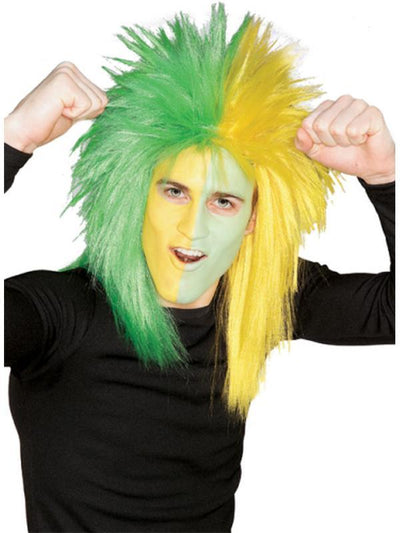 Sport Fanatic Green/Yellow Wig Adult-Wigs-Jokers Costume Hire and Sales Mega Store