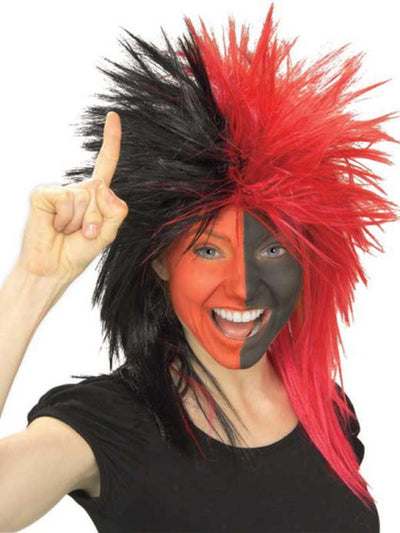Sport Fanatic Red/Black Wig Adult-Wigs-Jokers Costume Hire and Sales Mega Store