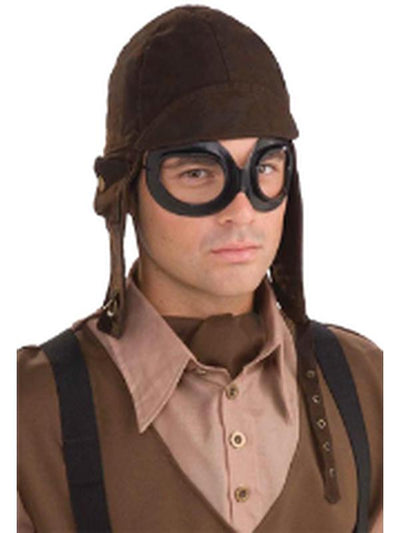 Steampunk Aviator Set - Cap and Goggles-Costumes - Mens-Jokers Costume Hire and Sales Mega Store