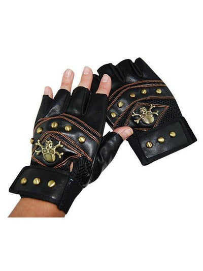 Steampunk Gloves w/Studs & Crossbone-Armwear-Jokers Costume Hire and Sales Mega Store