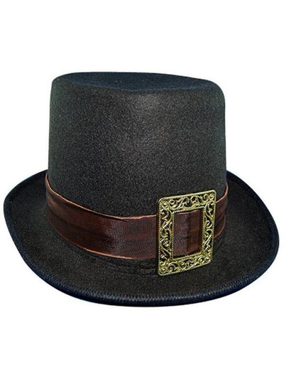 Steampunk Top Hat w/Buckle - Black-Hats and Headwear-Jokers Costume Hire and Sales Mega Store