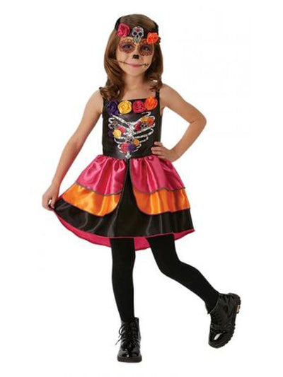 Sugar Skull Day Of The Dead Costume - Size M-Costumes - Girls-Jokers Costume Hire and Sales Mega Store