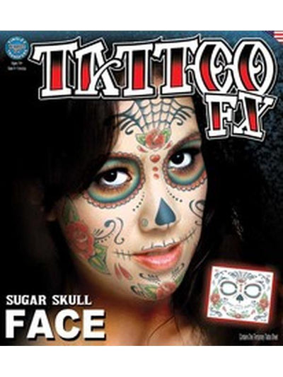 Sugar Skull Full Face Temporary Tattoo-Make up and Special FX-Jokers Costume Hire and Sales Mega Store