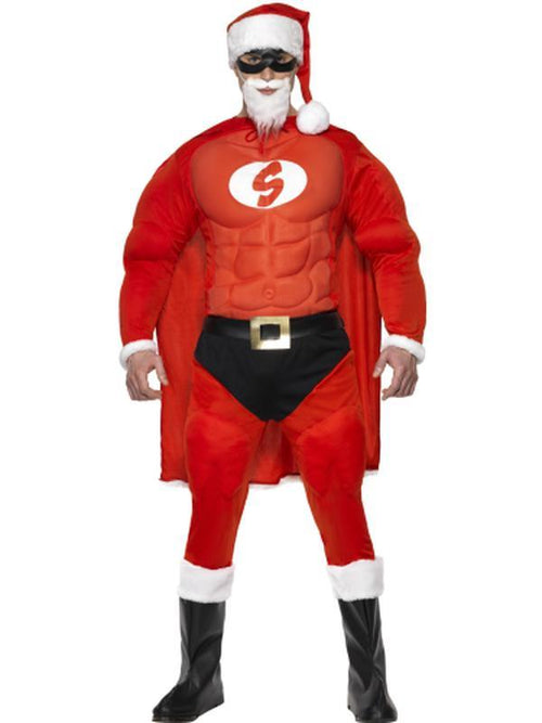 Super Fit Santa Costume & Beard-Costumes - Mens-Jokers Costume Hire and Sales Mega Store