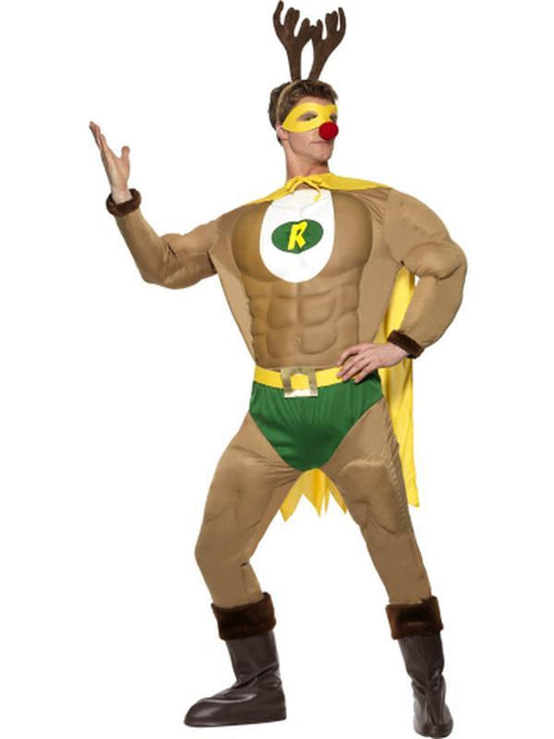 Super Reindeer Costume & Antlers-Costumes - Mens-Jokers Costume Hire and Sales Mega Store
