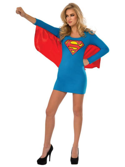 Supergirl Dress With Wings - Size L-Costumes - Women-Jokers Costume Hire and Sales Mega Store