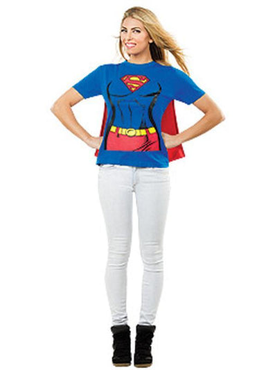Supergirl Tshirt Womens - Size M-Costumes - Women-Jokers Costume Hire and Sales Mega Store