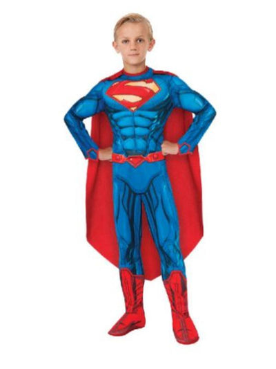 Superman Deluxe Muscle Suit Costume - Size 6-8-Costumes - Boys-Jokers Costume Hire and Sales Mega Store