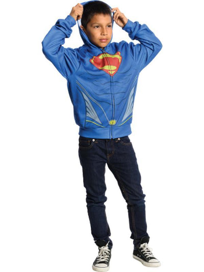 Superman Hoodie Costume - Size S-Costumes - Boys-Jokers Costume Hire and Sales Mega Store