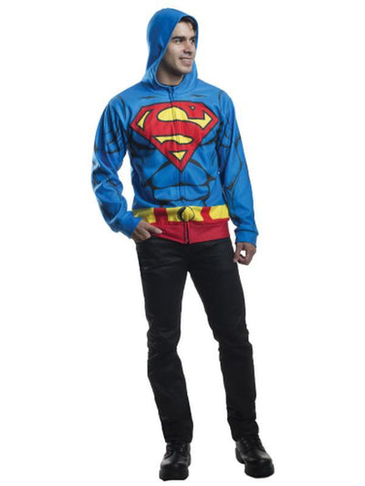Superman Hoodie - Size Xs-S-Costumes - Mens-Jokers Costume Hire and Sales Mega Store