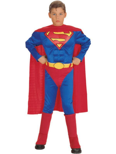 Superman Muscle Chest Child - Size M-Costumes - Boys-Jokers Costume Hire and Sales Mega Store