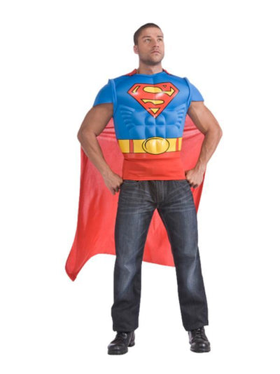 Superman Muscle Chest Shirt - Size Std-Costumes - Mens-Jokers Costume Hire and Sales Mega Store