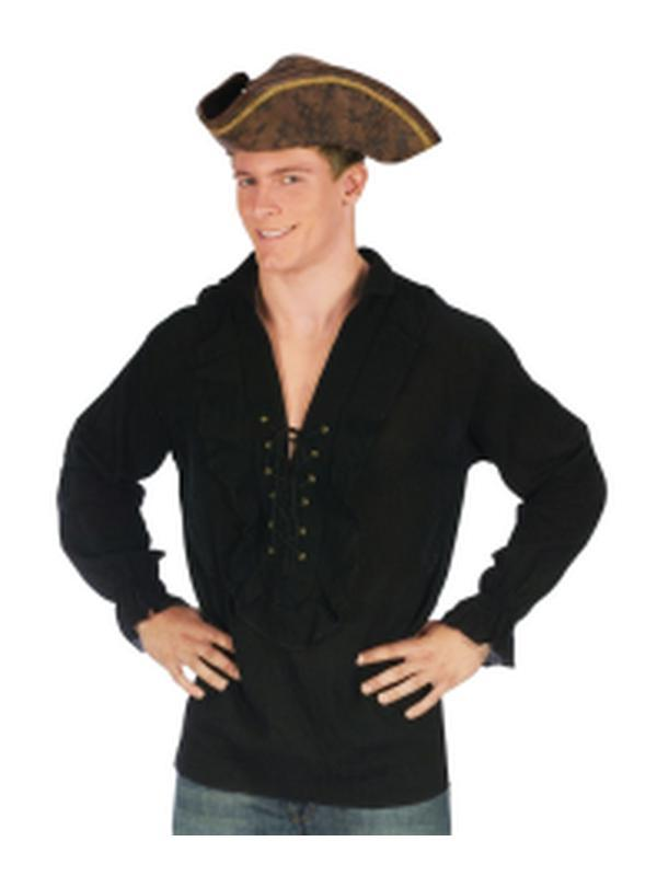 Swashbuckler Pirate Shirt - Black-Costumes - Mens-Jokers Costume Hire and Sales Mega Store