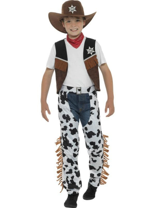 Texan Cowboy Costume, Child, Brown & Black-Costumes - Boys-Jokers Costume Hire and Sales Mega Store