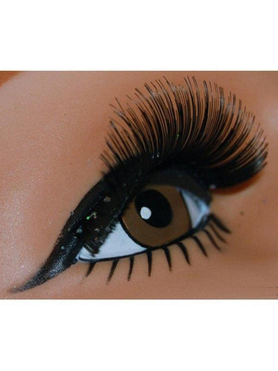 Thick Black Sparkle Lash w/Silv Glitter-Eyewear-Jokers Costume Hire and Sales Mega Store