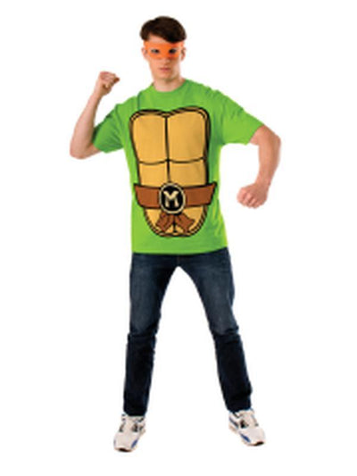 Tmnt Michelangelo Mens Tee - Size M-Costumes - Mens-Jokers Costume Hire and Sales Mega Store