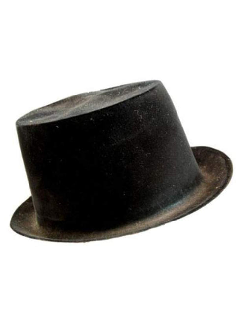 Top Hat - Black Flock**-Hats and Headwear-Jokers Costume Hire and Sales Mega Store