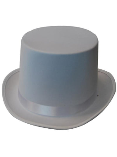 Top Hat - White Satin-Hats and Headwear-Jokers Costume Hire and Sales Mega Store