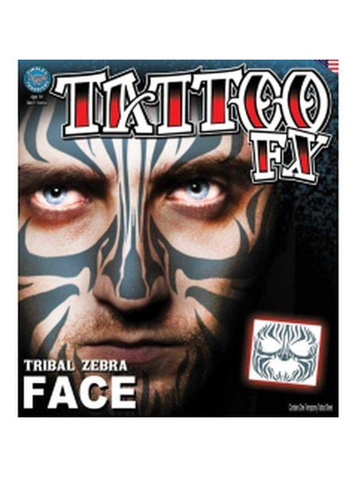 Tribal Zebra Face - Full Face Temporary Tattoo-Make up and Special FX-Jokers Costume Hire and Sales Mega Store